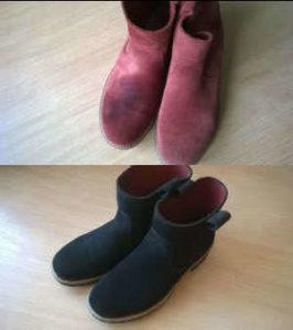 Zmiana koloru i usuniecie plam na zamszowych butach Ecco