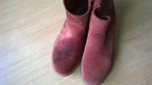 Renowacja zamszu na butach ecco stan początkowy