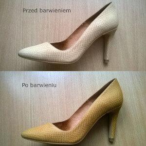 Farbowanie butów porównanie efektu