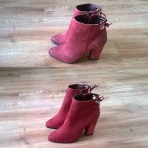 Farbowanie butów zamszowych na czerwony kolor